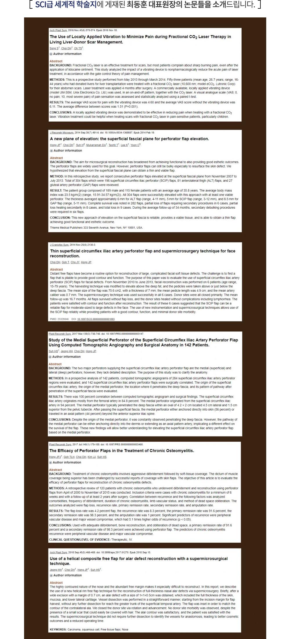 SCI급 세계적 학술지에 게재된 최동훈 대표원장의 논문들을 소개 드립니다.